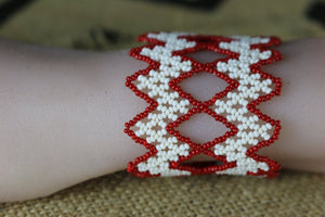Art# K415 - 3 inch. Original Kayapo Traditional Peyote stitch Beaded Bracelet from Brazil