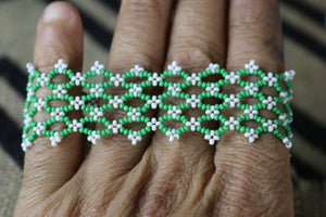 Art# K418  3+ inch. Original Kayapo Traditional Peyote stitch Beaded Bracelet from Brazil
