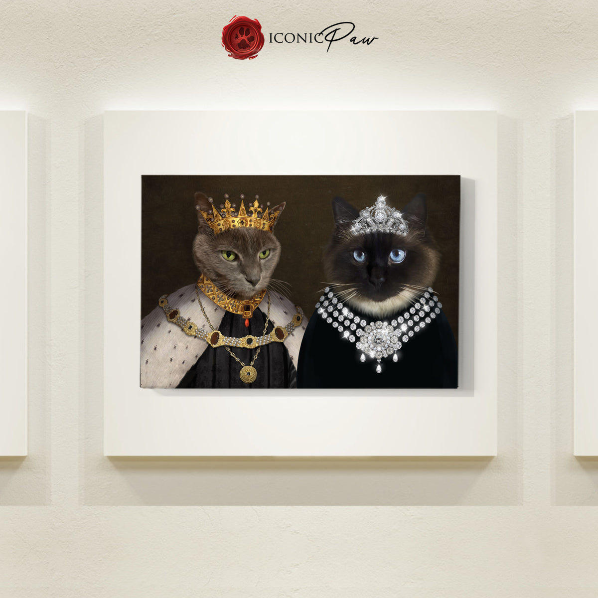 Crowned King & The Lady 2 Pets in 1 Canvas - Pet Portraits