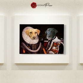 King and Queen 2 Pets in 1 Canvas - Pet Portraits