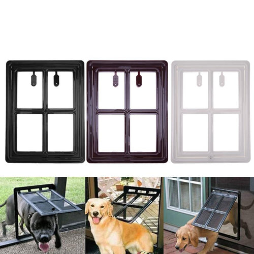 Plastic Pet Cat Puppy Dog Gates Door Safe Flap Door Mesh Window Gate Dog Flap Wall Mount Pet Door For Pets Supplies
