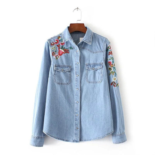 Spring Vogue Women Clothing Floral Embroidered Denim Blouse