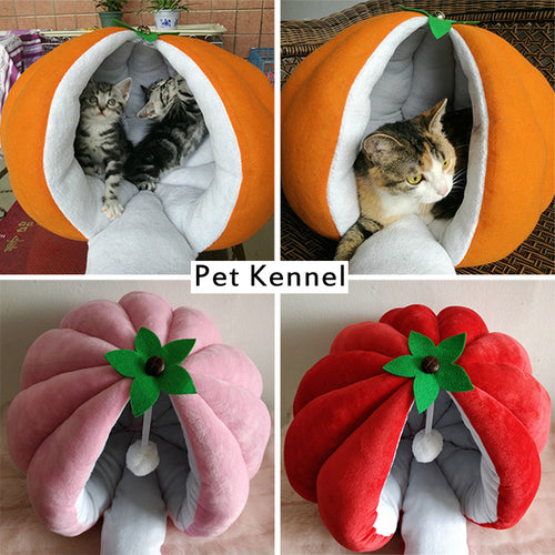 warm winter peach orange pumpkin dog house pet nest kennel pet bed sofas cat sleeping bags pet house