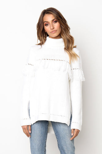 Glamaker White tassel fringe split sexy sweater Women hollow out turtle neck casual jumper Winter clothes party pullover sweater