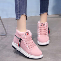 winter shoes new high help plus velvet women's shoes leather shoes students warm sports shoes moccasins