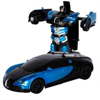 2.4G Transforming Bugatti Induction Deformation RC Cars RC Remote Control Deformation Car Into Light Electric Robot Toy