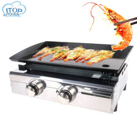 FREE Shipping 2 Burners LPG Gas  BBQ Grills Outdoor Barbecue Tools Non-stick Cooking Hot Plates Heavy Duty Grill Machine Electric BBQ Griddle
