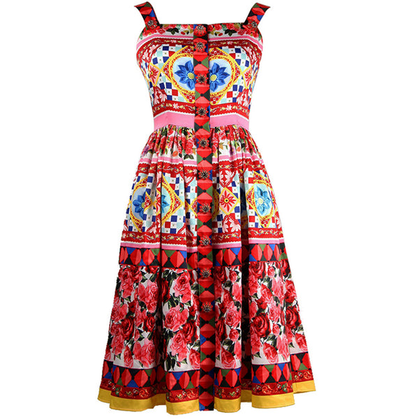 Free Return Return for any reason within 15 days Summer Designer Women's High Quality Colourful Flower Printed Crystal Button Spaghetti Strap Knee-length Dress