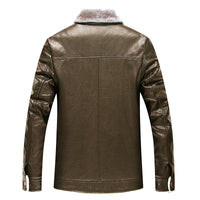 2017 plus size 8XL Winter Leather Jacket for Men Fashion Leather clothi Brown Sheepskin Jackets and with Wool Lining New Arrival