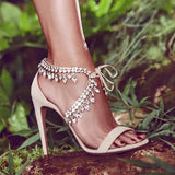 Fashion Bling Rhinestone Dimond Handmade High Heel Shoes Woman Sexy Crystal Sandals