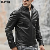 Men's Real Leather Motocycle Jacket Lambskin Genuine Leather with Zipper Closure Winter Coat Black