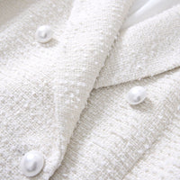 2019 Brand New Women Pearls Buttons Pockets Double Breasted Tweed Blazers Ladies Elegant Ivory White Coats Jackets XS-XL Y019