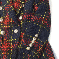 2019 Foreign trade explosion models female jacket line plaid weave tweed wool double-breasted suit jacket
