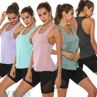 2019 Hot Summer Womens Sports Gym Racer Back Running Vest Fitness Jogging Yoga Tank Top 5 Colors Female Yoga Shirts Outfits S-XL