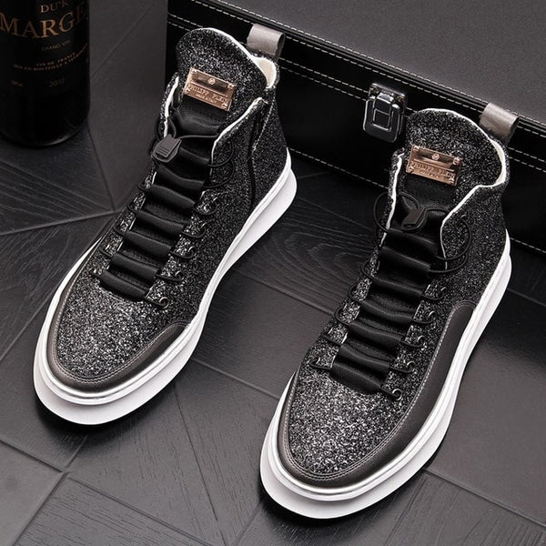 2019 New High Top Booties Thick Soled Black Platform Full Grain Leather Sole Male Brogue Shoes Glitter Mens Increased Boots