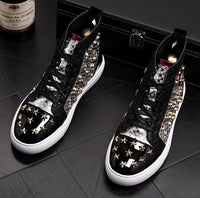 New Korean Hip Hop Shoes Fashion High Top Casual Shoes For Men Leather Lace Breathable Men brand rivet Top Shoes