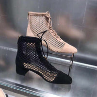 2019 New Spring Autumn Summer Boots Women Air Mesh Women Shoes Front Lace Up Short Booties Chic Heel Botas Brand Star Shoes
