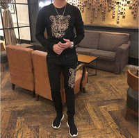 Spring New European and American Style   2 Sets tracksuit  Diamond stone suit top quality K652