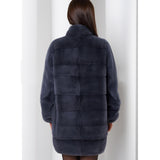 Women Real Mink Fur Coat Stand Collar Full Pelt Natural Mink Fur Jacket Genuine Fur Coats Plus Size Overcoat Winter Luxury
