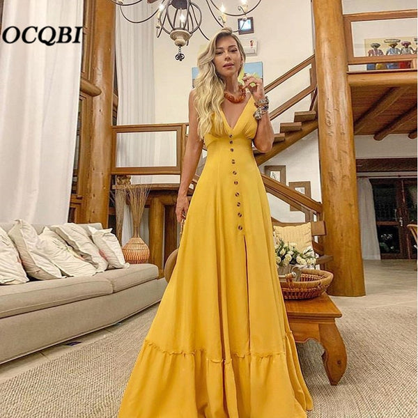 Women Summer Dress Sexy Party Night Vintage Dresses Elegant Yellow Maxi Dress Plus Size