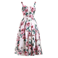 FREE Shipping new fashion rose flower print pleated slim fresh temperament straps fluffy dress casual holiday woman dresses