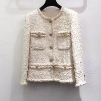 new women's autumn and winter jacket round neck long sleeve fashion pocket stitching high-end elegant jacket shirt