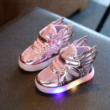 2020 Autumn New Children's Wings Sneakers Princess Shoes Baby Soft Bottom Non-slip Lightweight LED Light Shoes