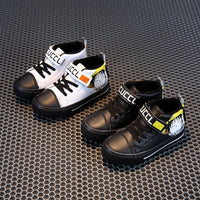 2020 Autumn and Winter New Fashion Children's Sneakers Velcro Plus Velvet Warm Sneakers Mid-top Rubber Sole Cotton Shoes