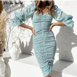 2020 New Package Hips Dot Print Long sleeve Dress Elegant Women Lacing up Elastic Ruched Mid Long Party Dresses Slim fit Vestido