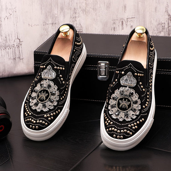 2020 New designer Men's Rhinestone rivet embroidery Casual Flats Platform Shoes Male sneakers wedding prom zapatillas hombre