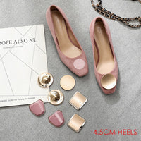2020 Spring Shoes Woman Solid Slip Ons Career Office Lady Square High Heels Faux Suede Pumps Women Party Wedding Heels 4 Buckles