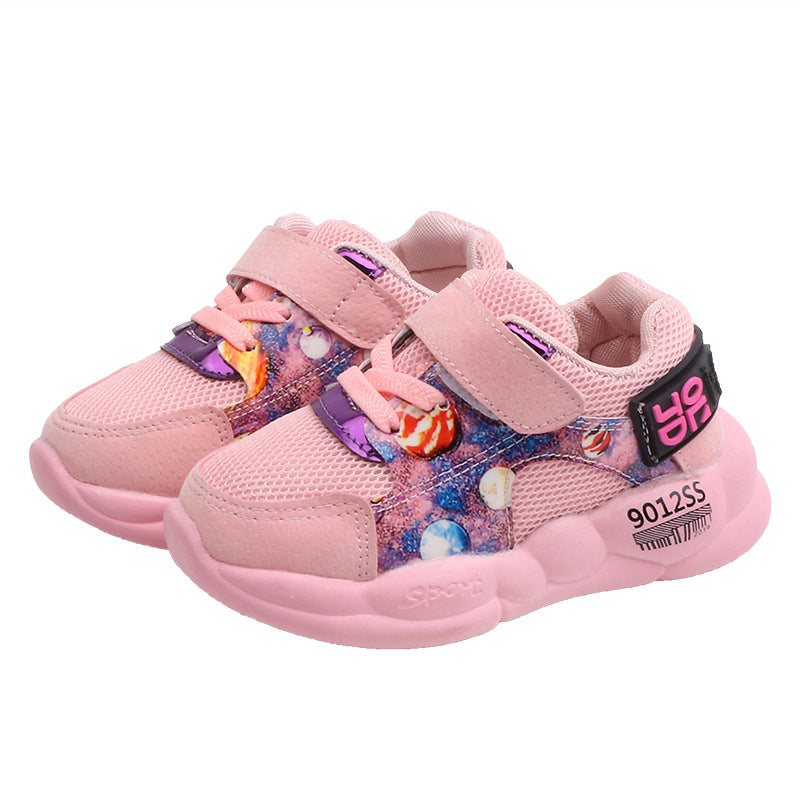 Unisex Baby Boys Girls Breathable Mesh Cloth Shoes Rubber Cozy Sole Antiskid Bear Pattern Prewalker Shoes Sneaker Slippers Pink 120mm