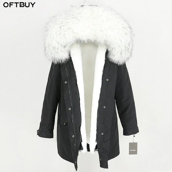 2020 Waterproof Long Parka Winter Jacket Women Real Fur Coat Natural Raccoon Fur Trim Hood Faux Fur Liner Detachable Streetwear