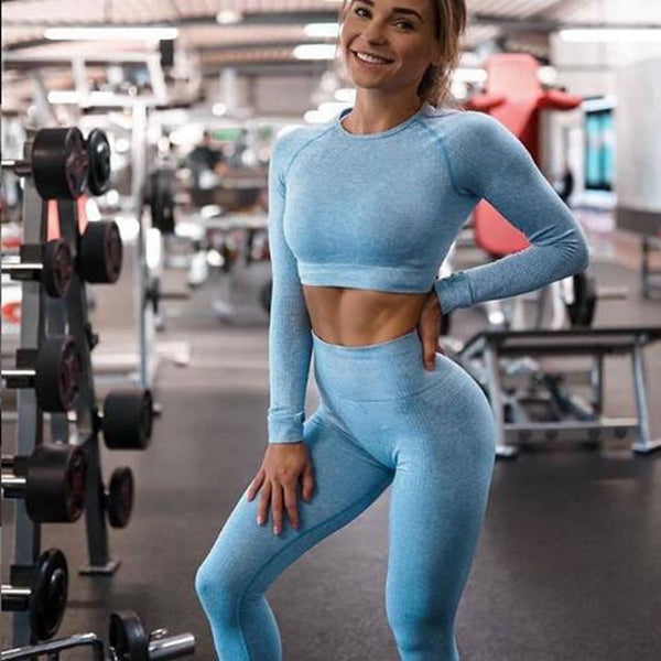 2020 Women Seamless yoga set Fitness Sports Suits GYM Cloth Yoga Long Sleeve Shirts High Waist Running Leggings Workout clothing