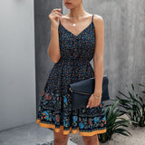 2XL Elegant Button Women Dresses 2020 Summer Sexy Spaghetti Print Cotton Mini Dress Fashion V-neck Backless Beach Dress Vestidos