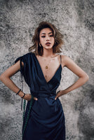 AEL Court Party Dress Women Deep V One Shoulder Drawstring Wrinkle Asymmetric Dresses Hight Quality Satin 2018 Dark Blue