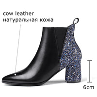 ALLBITEFO fashion Sequins genuine leather thick heel martin boots for women winte women boots women ankle boots girls shoes