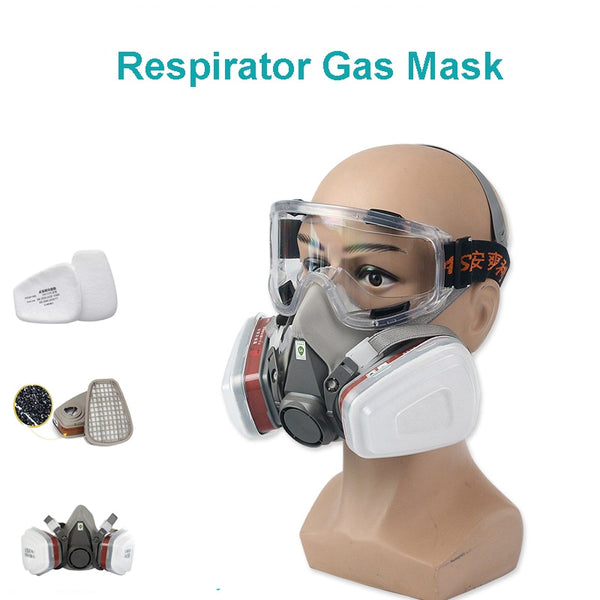 Anti Dust Respirator Filter Gas Mask Set Chemical Anti-dust Masks Industrial Paint Spraying Protective Mask Workplace PM005