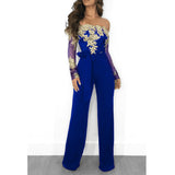 Appliques Lace Patchwork Jumpsuit Women Sexy Off Shoulder Slash Neck Long Sleeve Women Jumpsuit Elegant Slim Wide Leg Jumpsuit