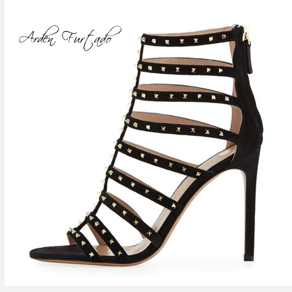 Arden Furtado 2019 summer high heels stilettos heels open toe gladiator sandals party shoes rivets fashion cover heels big size