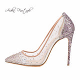 Arden Furtado new 2019 spring summer high heels 12cm stilettos bling bling crystal clear mesh pumps wedding party shoes big size