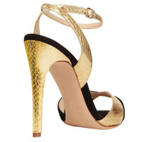 Arden Furtado summer sexy high heels ankle buckle gold silver sandals party shoes for woman peep toe snakeskin women stiletto