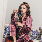 Autumn Velvet Long Sleeve Women Pajamas Sets Sexy Elegant Ladies Home Clothes 2019 Winter Warm Female Pajama Sleepwear Suits