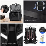 BISON DENIM fashion PU leather men backpack brand Waterproof travel bag school backpacks for teenager
