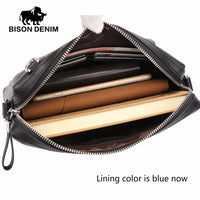 BISON DENIM fashion brand men bag genuine leather men clutch business casual men shoulder messenger bags