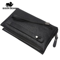 BISON DENIM luxury men bag genuine leather large capacity men clutch bags brand male zipper day clutches hand bag