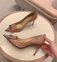 BONJEAN Newest Nude Patent Leather High Heel Shoes Woman Sexy Pointed Toe Pumps Thin Heels Shallow Dress Heels