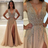 Beaded Long Prom Dresses 2019 Luxury Vestidos De Gala Sexy Backless V-neck Tulle Party Formal Gowns Evening Party For Women