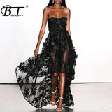 Beateen 2019 New Summer Women Sexy Strapless Sleeveless Lace Floral Mesh Bandage Gown Dress Party Club Summer Ruffles Dress