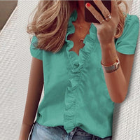 Blouse Shirts Office Lady 2020 Spring Summer Print long Sleeve Ruffle Women Blouses Sexy V-neck Short Sleeve pullover Tops